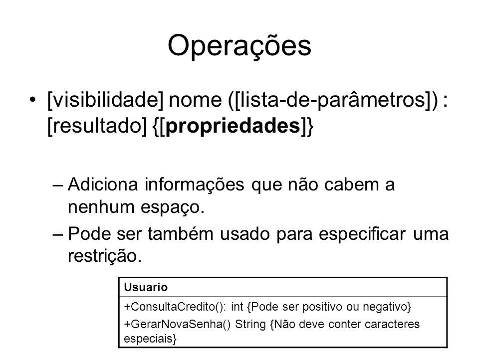 Operações [visibilidade] nome ([lista-de-parâmetros]) : [resultado] {[propriedades]} Adiciona informações que não cabem a nenhum espaço.